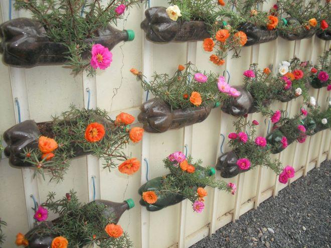 garrafa pet com decorao de flores fonte blog jardim do corao